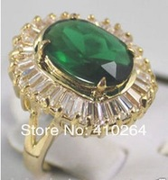 $wholesale_jewelry_wig$ free shipping beautiful new bridai jewelry green zircon Women's Swarovski crystal ring size :7-9 #