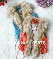 Жилет для девочек Holiday Sale Girls Fashion Pu Vest Kids False Fur Collar Vest Children Faux Leather Vest for Autumn 4pcs/lot