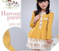 Платье для девочек 2012 fashion children's long-sleeve skirt girls's long sleeve dresses