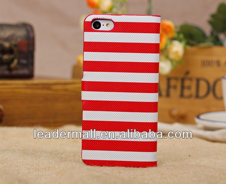 Wholesale Fashion Stripe Design Pu Leather Case For iPhone 5C
