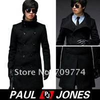 Одежда и Аксессуары HOT! PJ Mens Slim Double Breasted Jacket Trench Coat 2Colors New