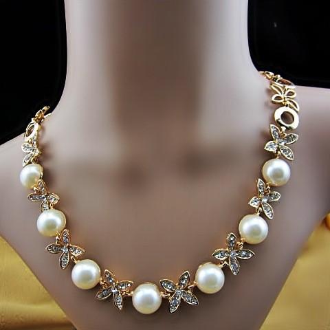 новые классические элегантные стразы жемчужное ожерелье, женщина короткий дизайн ожерелье жемчужное ожерелье лучший подарок