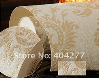 Free shipping,High Quality Damascus Living room Decorative Wallpaper,PVC Wall paper(5.3 square meters/set)