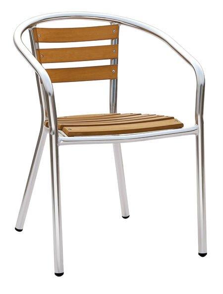 de plástico apilables silla de madera al aire libre en los muebles de