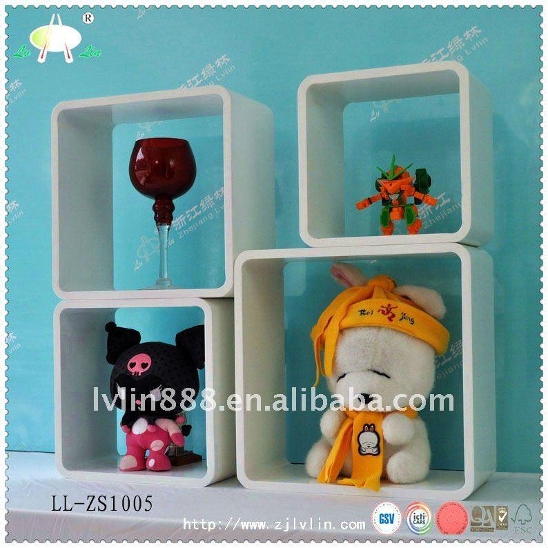 MDF prateleira do cubo, prateleira do cubo de madeira, prateleira de madeira da parede para sala de estar