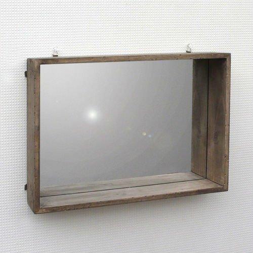 miroir mural avec cadre dtagre en bois - Etagere Murale Miroir