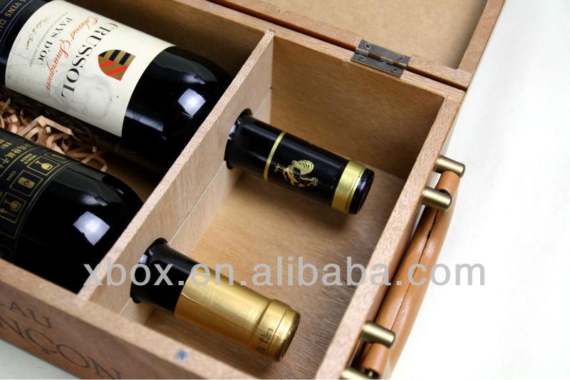 2 bottle wooden wine carrier