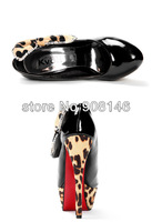 Ложка для обуви 2013 spring leopard patent leather bow shallow mouth waterproof Taiwan high with shoes shoes Korean version of the s