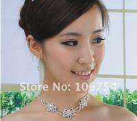 Ювелирный набор Hotsale! Rhinestones Flower Necklace, Earrings, fashion Wedding Bridal Jewellry Set, party jewellery