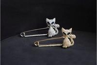 (Min order$10) Free Shipping!Japan and South Korea cute green eyed kitten brooch!#413