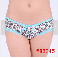 Женские трусики 95%cotton women bow panties fashion leopard underwear lace briefs M, L, XL 5pcs/lot