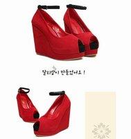 Продажа новый стиль красный нижний супер высокий каблук клин пятки сандалии для леди вечернее платье 220 розничная