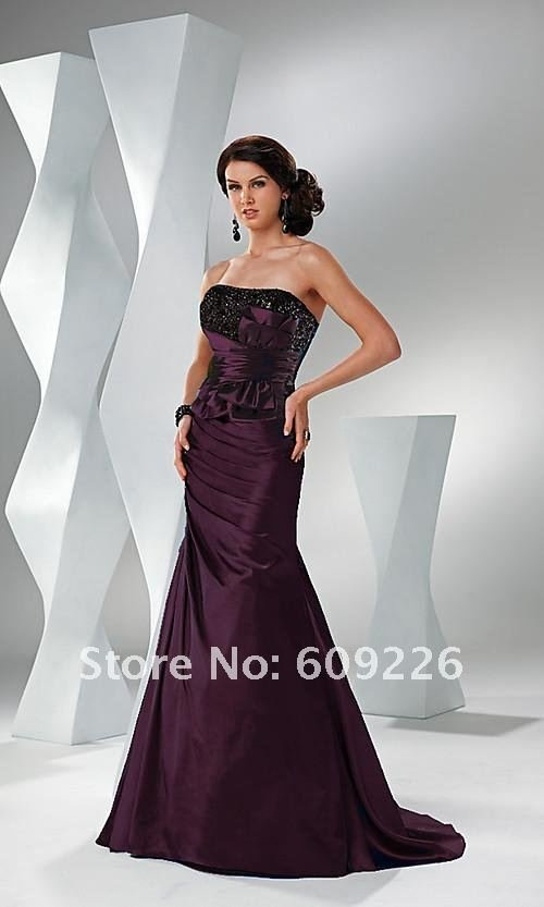 2012 Long Strapless TaffetaElegant Prom Dress with Sequin Bodice