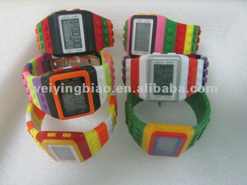 Newest trend fashionable block brick rainbow OEM Digital vogue watches
