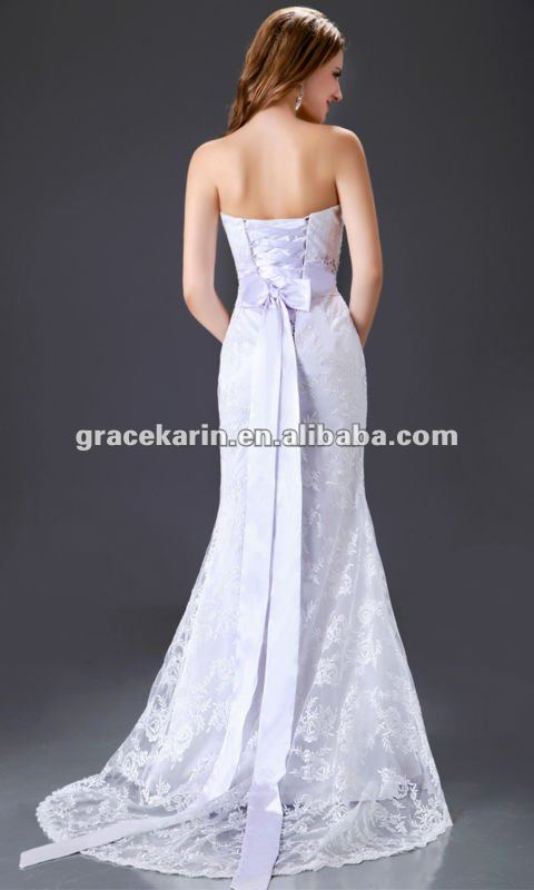 2015 Grace Karin Wedding Dress Strapless White Lace Long CL2528