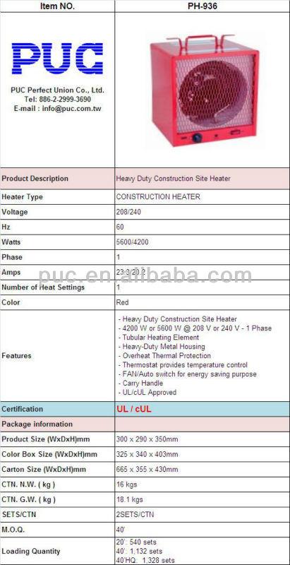 PH-936 4200/5600W Industrial Electric Fan Heater