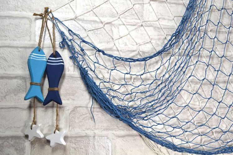 Buy Mediterranean Style Decor Cotton Fabric Nautical Fish Bar Nautical Decor