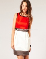 Freeshipping  New arrival colour block shift lady  dress (DL049) Support drop shipping
