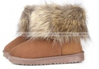 Женские ботинки 2013 Winter New Fashion Hot Artificial Fox Fur Snow Warm Boots Round Toe Flat Boots Short Boots 3 Colors #L035570