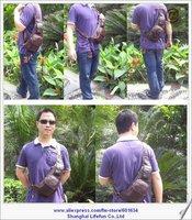 Сумка на талию 2013 GENUINE LEATHER Retro mobile phone shoulder bag slung chest pack sport bag sling for men LF02179 02015