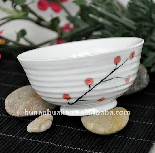 "Ceramic porcelain rice 4.25""bowls with unique flower design"