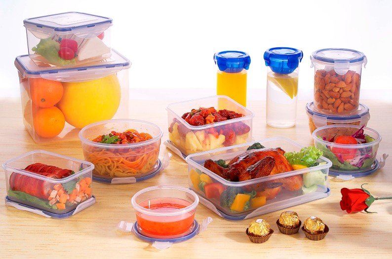 3pcs airtight round food plastic container with lid
