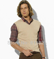Мужской жилет POLO Sweaters for Men, personality fashion brand casual v neck sleeveless sweater vest, Sweater BLWHSA