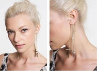 Серьги 2012 Gold silver cross chains long tassel golden earrings ear hook EF12158
