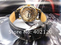 Наручные часы fashion watch men Hot! Luxury Golden Skeleton Mechanical Watch, Genuine Leather Band Wrist Watch #QWJX021