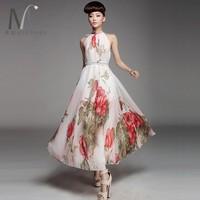 плюс размер ультра долго шифоновое длинное платье летом шифоновое платье лета цветок печати богемы расширение нижней полный платье