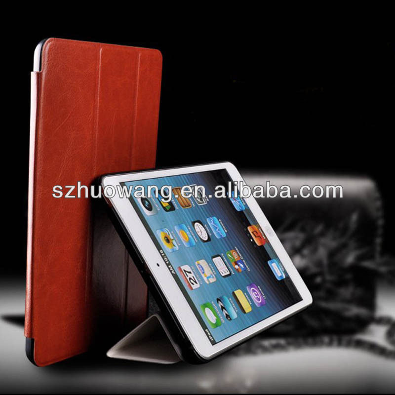Tri-folr stand leather case for ipad air, flip case for ipad air ipad 5