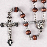 Колье-цепь Religious Rosary + wooden Beads Fashion Necklaces+Lady Wooden Rosary Necklaces for Men Metal Chain.Half off shipping