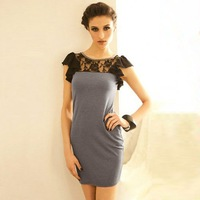 2012 NEW/Sexy/Cotton + bud silk/Patchwork/lotus leaf sleeve/romantic/dress/RG1208058