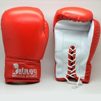 New 1 Pair PU Leather Red Adult Sanda Gloves Boxing Kickboxing Training Gloves 6579