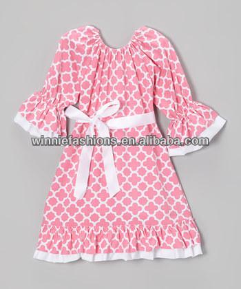 2014 Hot sale! 100% cotton quatrefoil baby cute dresses girl frocks design