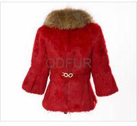 осенью и зимой женщин реальные кролика Меховая куртка енот мех воротник женские короткие пуховики