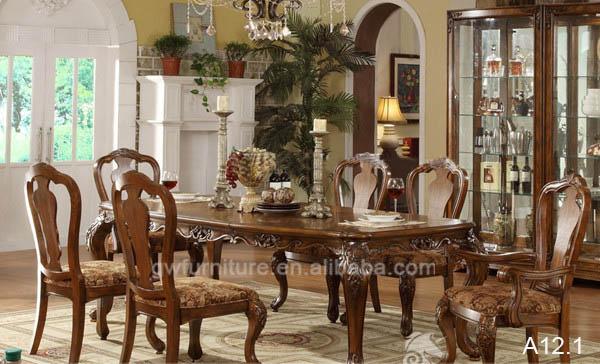 Royal Salon Style Americain Bois Sculpte Meubles Table A Manger Et Chaise A11