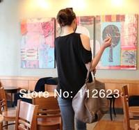 Женская футболка 2013 new fashion cotton lady's sleeve necklines off-the-shoulder T-shirt