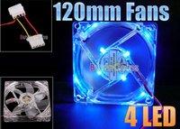 Охлаждение для компьютера 1Pcs/lot 120mm Fans 4 LED Blue for Computer PC Case Cooling [2135|01|01