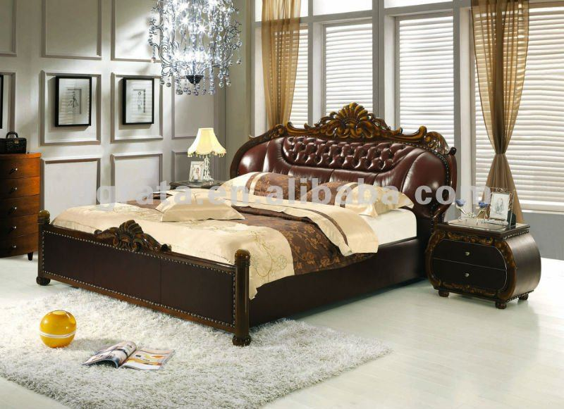 2012 new design elegant thick genuine leather bed with carved ...