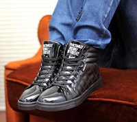 Мужские кроссовки Men's Fashion High Upper Plaids Pattern Lace Up Flat Heel Casual Shoes Sneaker Shoes US Size 7-10 D037