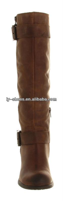 2014 women fashion Ladies Long Dark Brown Fur Lined Riding Boots