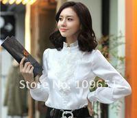 Рубашки женские длинные sleeveblouse новые женской моды, ladies'chiffon, новый стиль мода Корея блузка