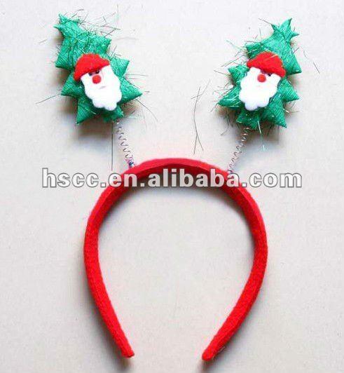 Arbol de navidad con santa claus verde hairband/diadema de navidad