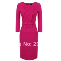 Женское платье brand new knee length OL commute dress, full sleeves career dress cotton dresses, blue, rosy with belt IR078
