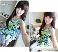 Женские блузки и Рубашки Summer Women Lady Clothing Sleeveless Round Neck Floral Printed Chiffon Peplum Beach Vest Tops Blouse Size S 0851