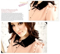 Женские блузки и Рубашки 9149 The three-dimensional fold neck tie knot mixed colors gauze shirt color