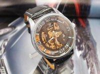 Наручные часы Fashion Classic black Genuine Leather Skeleton Mechanical Watch for men MD0008