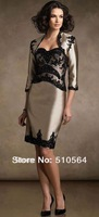 Free shipping Hot sale satin knee length mother of the bride dress /mother dress with black lace