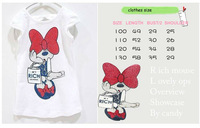 Платье для девочек HOT SELL Retail baby girls minnie design t-shirt baby sweet mini dress
